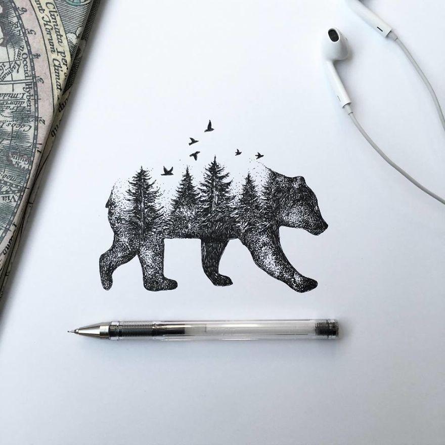 عکس طراحی گل با مداد سیاه