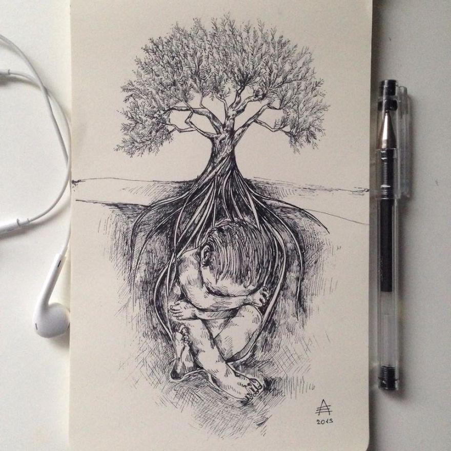 عکس نقاشی گل با مداد سیاه