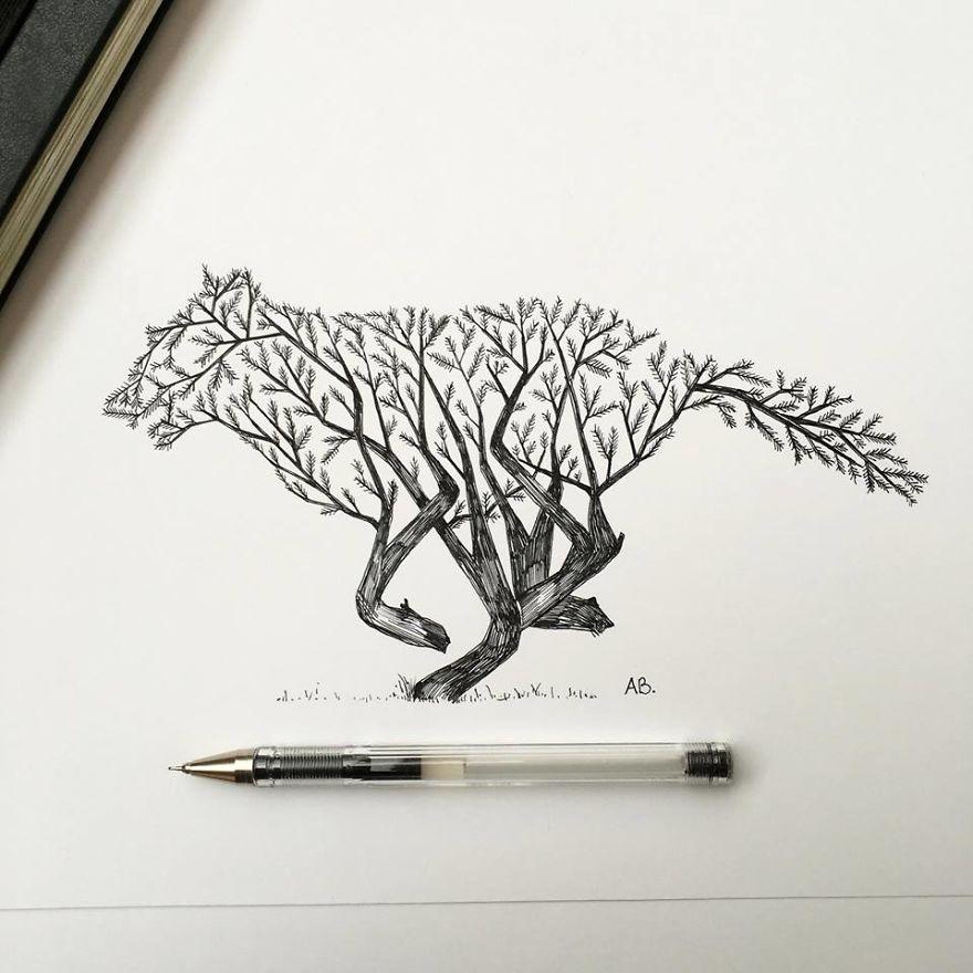 عکس های نقاشی گل با مداد سیاه