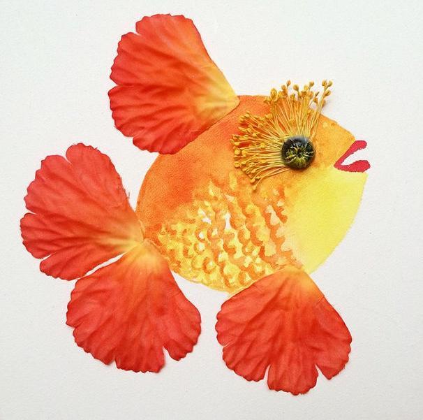 نقاشی طراحی گل با مداد رنگی
