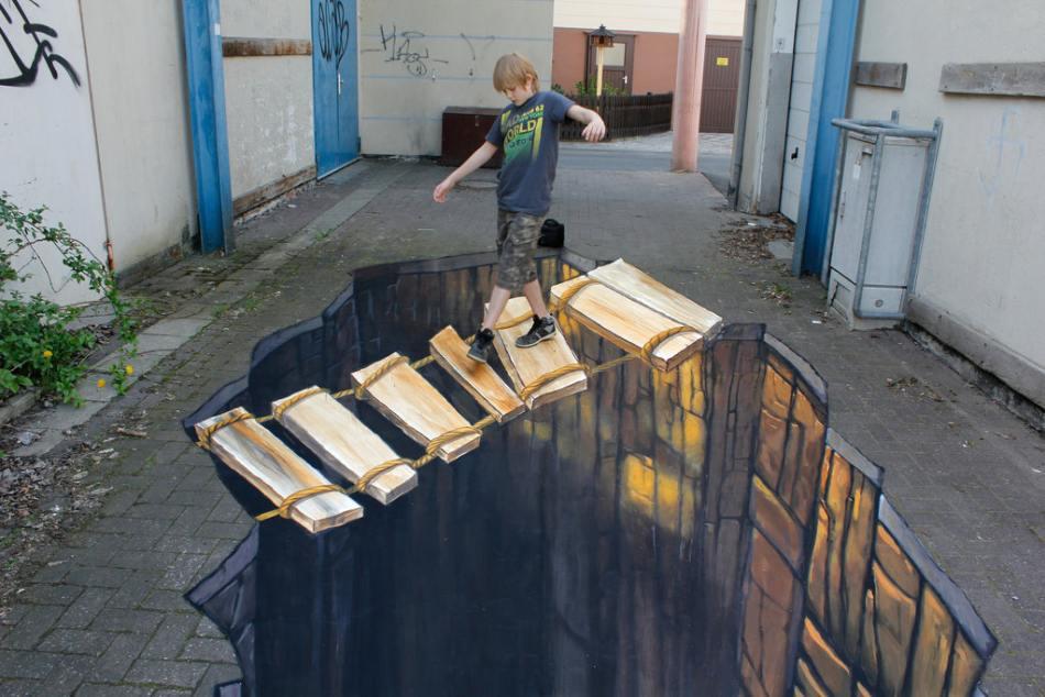 تصاویر نقاشی های سه بعدی خیابانی